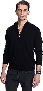 State Cashmere Men's 100% Pure Cashmere Pullover Half Zip Mock Neck Sweater