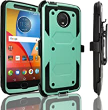 Motorola Moto E4 Plus Case, Customerfirst Shockproof Rugged Hybrid Case Cover with Belt Clip Holster & Built-in Screen Protector for Moto E4 Plus [Full Body Protection] (Teal)