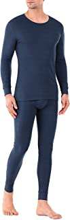 Men's Soft Cotton Thermal Underwear Rib Stretchy Base Layer Thermal Top and Bottom Long Johns Set