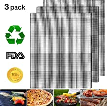 DREAMSOULE BBQ Grill Mesh Mat - 3 Pcs Reusable Teflon Barbecue Net Pad | Grid Shape Cooking Mat Easy to Clean, Non-Stick, Heat Resistant, FDA-Approved, Perfect for Grilled Vegetables Fish Beef Shrimp