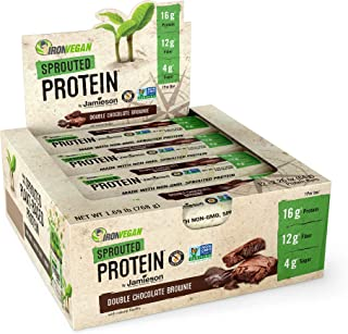 Iron Vegan by Jamieson Sprouted Protein Bars – Double Chocolate Brownie Flavor – Plant-Based Protein; No Dairy; No Lactose...