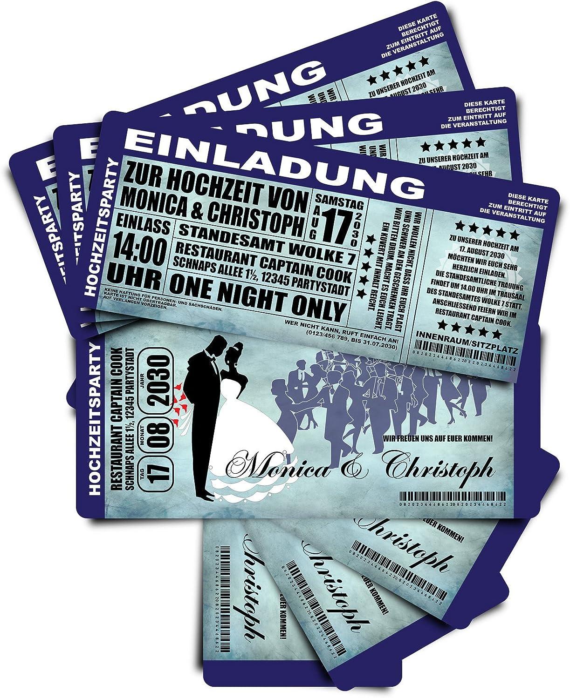 100 Einladungskarten zur Hochzeit  Das Hochzeitskonzert  - blau • Hochzeitseinladungen Hochzeitskarten B0778TSF5P | Um Sowohl Die Qualität Der Zähigkeit Und Härte