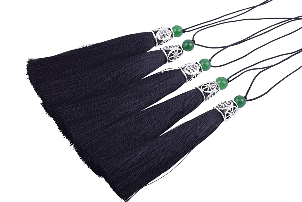 Konmay 10pcs 3.8''(9.0cm) Soft Long Craft Silky Handmade Tassel with Hollowed Antique Silver Cap and Jade Beads (Black)