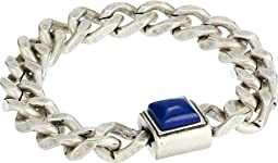 Simulated Lapis Square Station Curb Chain Magnetic Bracelet