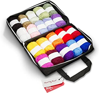 Mind My Thread 20 Skeins Acrylic Yarns For Crochet Knitting Craft Kit | 1,093 Yards | 20 Color Set with Reusable Yarn Storage Craft Bag & Bonus Crochet Hook + 'How to' Book for Beginners