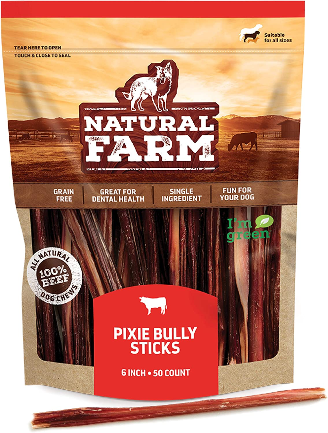 """Credence Made by Natural Farm Pup Sticks- Pixie Pizzle 6"""" 50-Pack Selling rankings"""