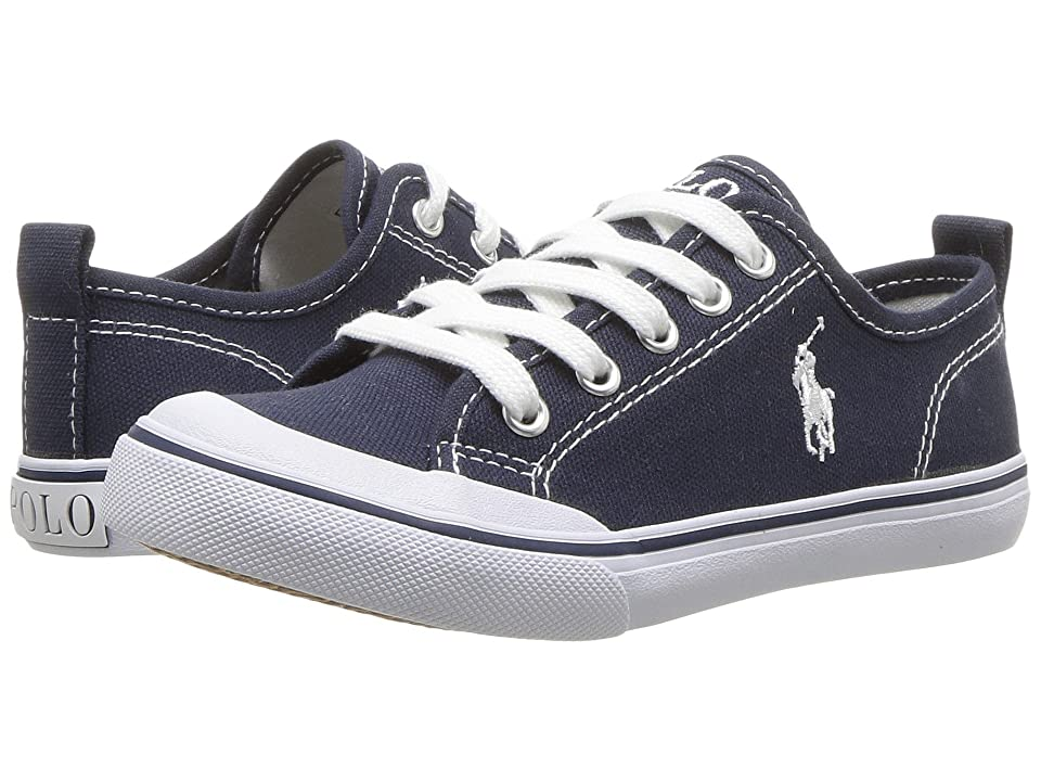 Polo Ralph Lauren Kids Karlen (Little Kid) (Navy Canvas/White Pony Player) Kid