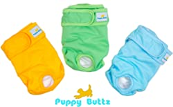 Puppy Buttz Reusable Washable Dog Diapers Pack of 3