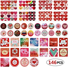 Phogary 146 PCS Heart Stickers Valentine's Day Present Stickers Self Adhesive Tag Labels Heart-Shaped Decorative Decals for Wedding Valentine's Supplies