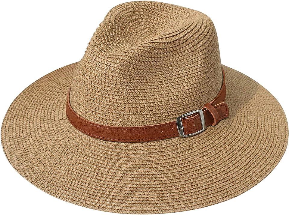 Women Wide Brim Straw Panama Roll up Hat Fedora Beach Sun Hat UPF 50+