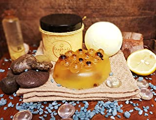 Craftiela Tangy Boost Juego de regalo organico natural para ella Bomba de bano de limon y aloe vera- miel cruda y jabon de pimienta negra- cristales de bano de mar muerto de limon Set de regalo de spa