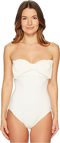 Kate Spade New York - Solids #80 Bandeau One-Piece w/ Removable Soft Cups & Strap