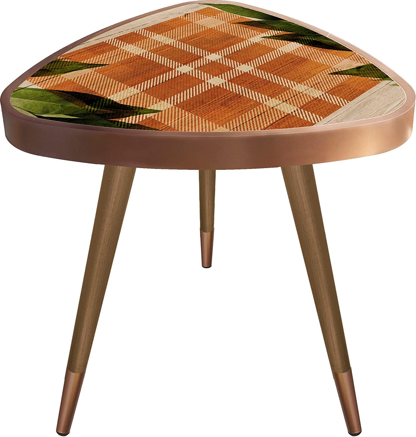 orange Plaid and Leaves Print Triangle Wooden Design Vintage,Retro, Mid-Century Modern Design Wooden Coffee Table, Cocktail Table for Living Room, Bedroom or Home Office