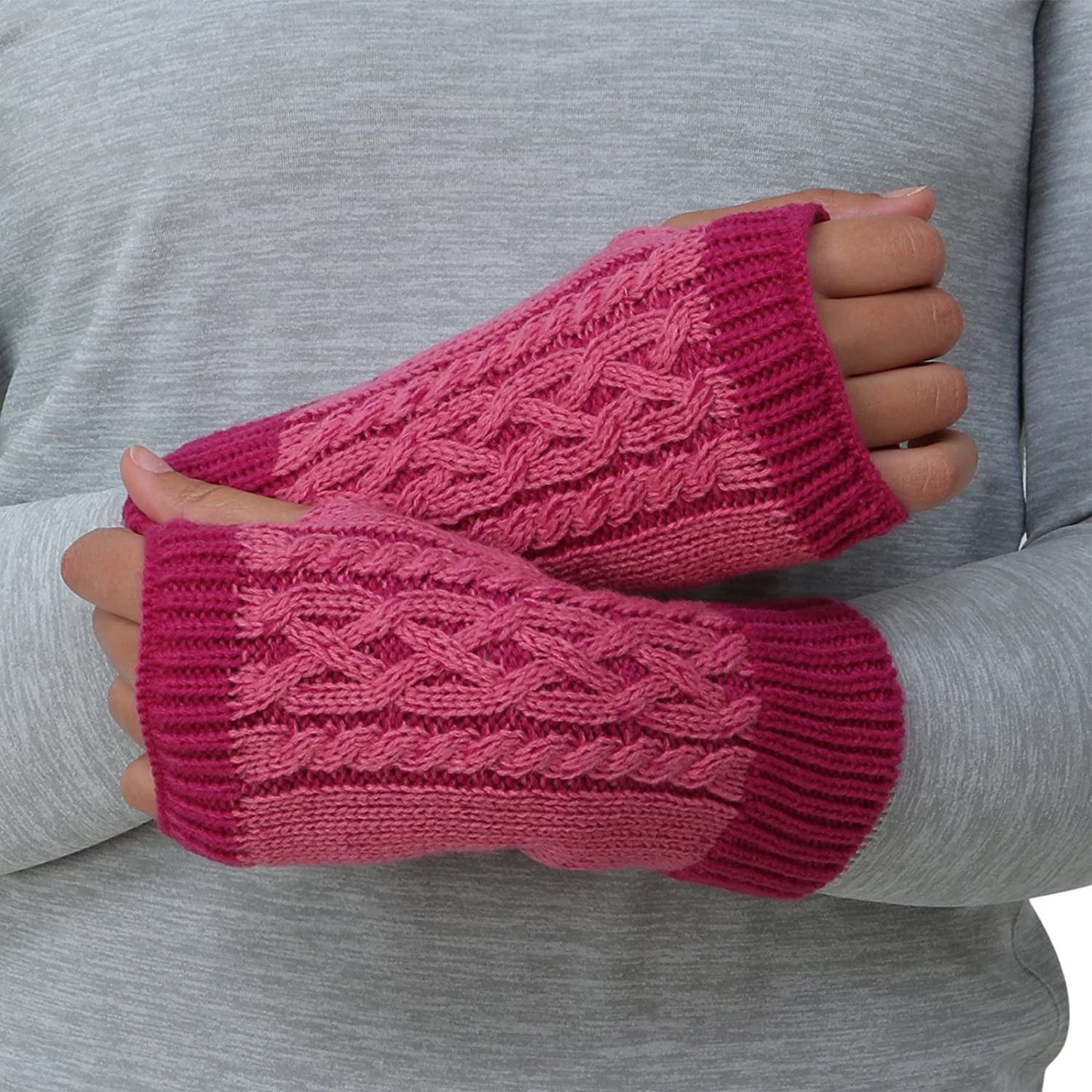 TrailHeads Cable Knit Women's Wrist Warmers   Hand Warmers   Fingerless Gloves - 2 Colors