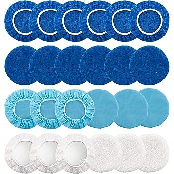 Including 12 Packs Microfiber Car Polishing Bonnet 4 Packs Waxing Bonnet 10 Packs Non-Woven Buffing pad 2 Packs Cotton Bonnet for Car Polisher and SIQUK 30 Packs Polishing Bonnet Pads 5 to 6 Inches