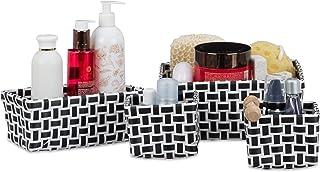 Relaxdays Boîte de rangement lot de 4 paniers plastique salle de bain tressé cosmétiques corbeille, blanc-noir