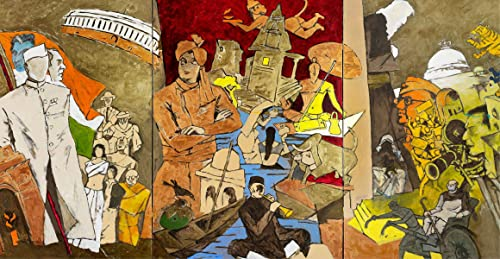 Tale of 3 Cities India Series Paintings A Famous Painting by M F Husain Wall D cor Frame Acrylic Spray Coated Canvas with Pinewood Frame Size 12 x24