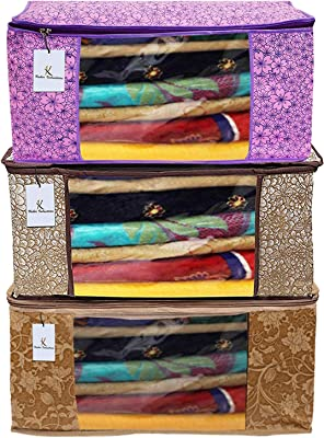 Heart Home Metalic Printed 3 Piece Non Woven Fabric Saree Cover Set with Transparent Window, Extra Large, Pink Purple & Golden Brown & Beige - CTHH22655