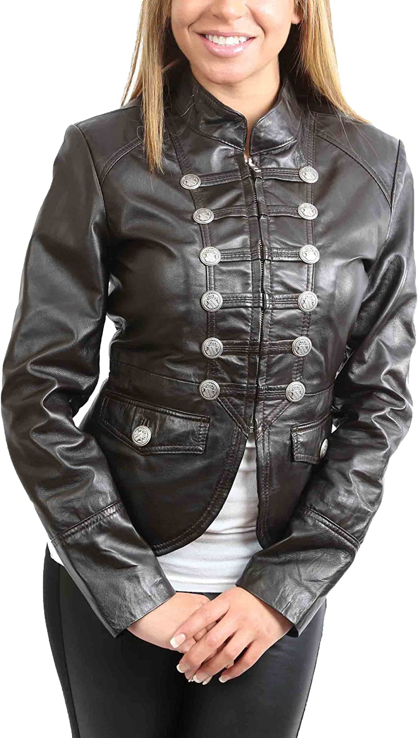 A1 FASHION GOODS Womens Leather Casual Jacket Military Punk Style Black Coat Aria