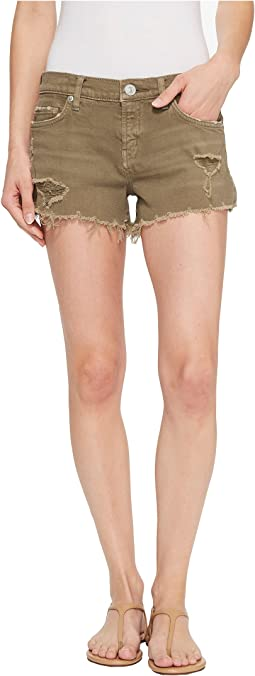 Hudson Kenzie Cut Off Jean Shorts in Worn Olive