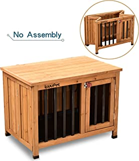 Lovupet Wooden Portable Foldable Pet Crate Indoor Outdoor Dog Kennel Pet Cage with Tray