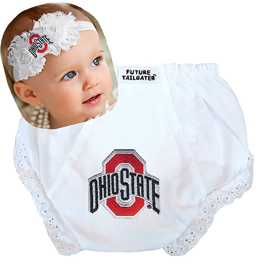 Future Tailgater Ohio State Buckeyes Baby Shabby Flower Headband and Diaper Cover Set