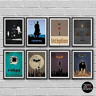Christopher Nolan Minimalist Poster Set of 8 Films Interstellar Batman Begins The Dark Knight The Dark Knight Rises Inception The Prestige Dunkirk Memento Print Wall Artwork Home Decor Cool Gift