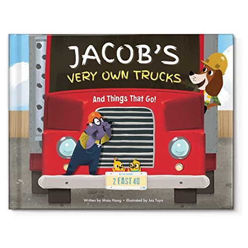 Construction Trucks Diggers Book for Boys, Personalized Name Book for Kids