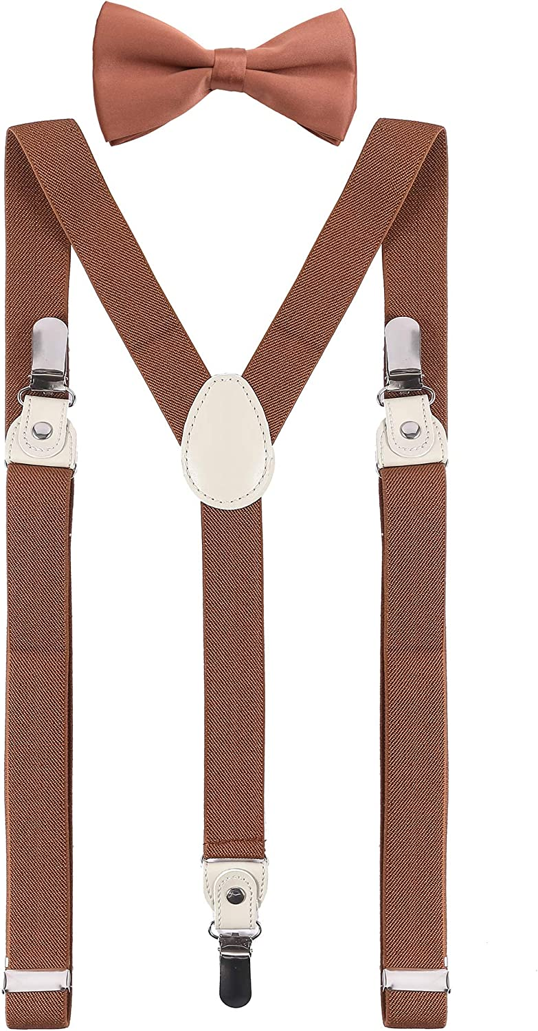 DEOBOX Men's Bow Tie and Suspenders Set for for Wedding Clips 47