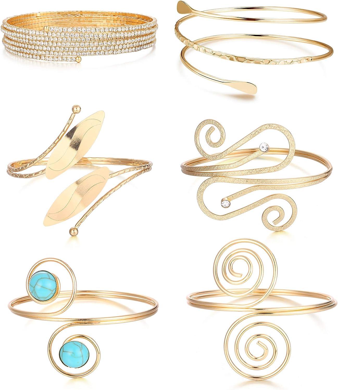 ORAZIO 6Pcs Coil Upper Arm Bracelet for Women Arm Cuff Open Armlets Armband Jewelry Minimalist Arm Bracelet Bangle Adjustable