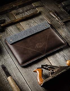 MacBook Pro 13 15 16 custodia in feltro di lana 100% feltro di lana fatto a mano Crazy Horse stile italiano copertina in p...