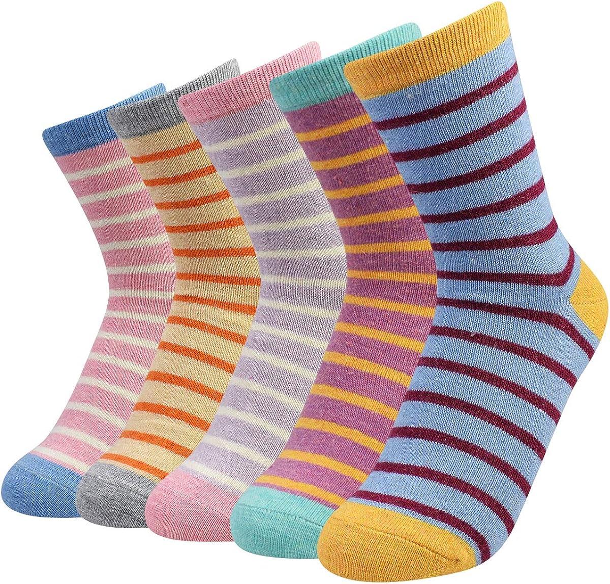 Thermal Wool Socks for Women Winter Warm Crew Socks Comfy Soft Casual Knit Boot Socks 5 Pack