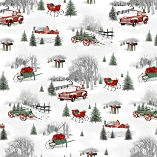 Small Christmas Scene, Red Trucks, Sleighs Wagon, Green Pines, Winter, Holiday Homestead, Henry Glass, Jan Shade Beach, 1614-090, by Yard