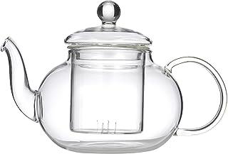 LEAF & BEAN D8017 Chrysanthemum Teapot with Filter, Clear Glass