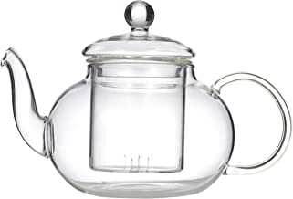 LEAF & BEAN D8017 Chrysanthemum Teapot with Filter, Clear Glass