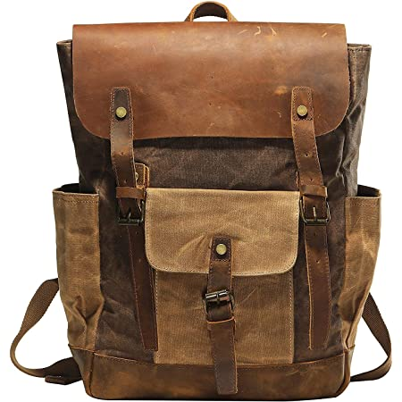 Studded Canvas and Leather Backpack Assorted Colors