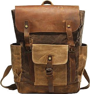 Vintage Waterproof Waxed Canvas Leather laptop computer Backpack College School Bookbag Travel Rucksack 15.6'' -Coffee