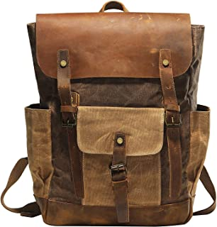 Vintage Canvas waxed Leather Backpack w/Laptop Storage (Large) High School, College, Travel Bag | Canvas and Cotton Craftsmanship | All-Purpose Rucksack for Men, Women, Kids