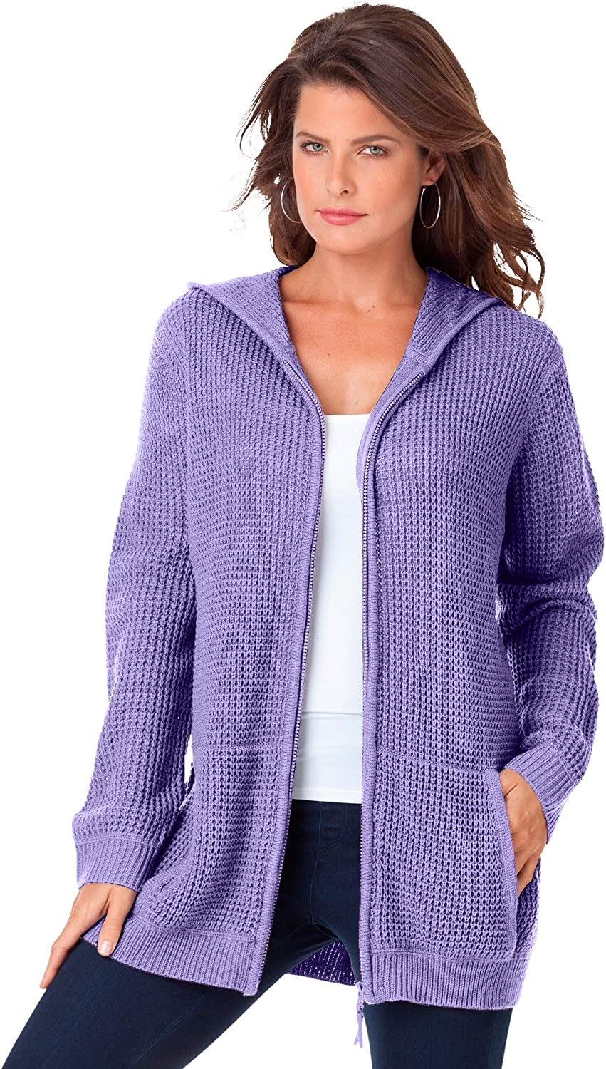 Roaman's Product Women's Plus store Size Thermal Hoodie Zip Cardigan Up Waffle