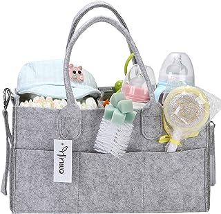 Hinwo Baby Diaper Caddy 3-Compartment Mommy Infant Nursery Nappy Storage Bin Portable Car Organizer Newborn Shower Gift Ba...
