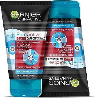 Garnier Skin Active - Pure Active, Gel Limpiador de Poros y Exfoliante Facial con Carbón 3 en 1 - Pack 2 unidades x 150 ml...
