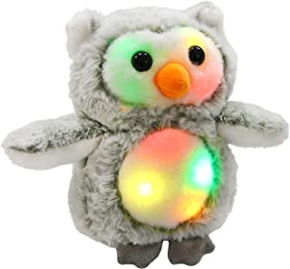 Bstaofy LED Snowy Owl Stuffed Animal Glow Owlet Plush Toy Nightlight Bedtime Companion Gift for Toddlers Kids on Christmas Birthday, 8 Inches