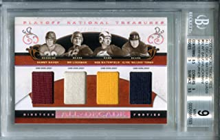 National Treasures Sammy Baugh Sid Luckman Bob Waterfield Clyde Bulldog Turner All Decade 1940's Material Quads BGS 9