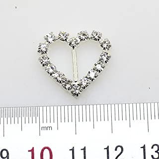 30pcs 20mm x 18mm Heart Shaped Rhinestone Buckle Slider for Wedding Invitation Letter