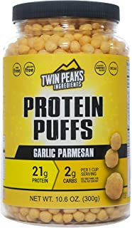 Twin Peaks Low Carb, Keto Friendly Protein Puffs, Garlic Parmesan (300g, 21g Protein, 2g Carbs)