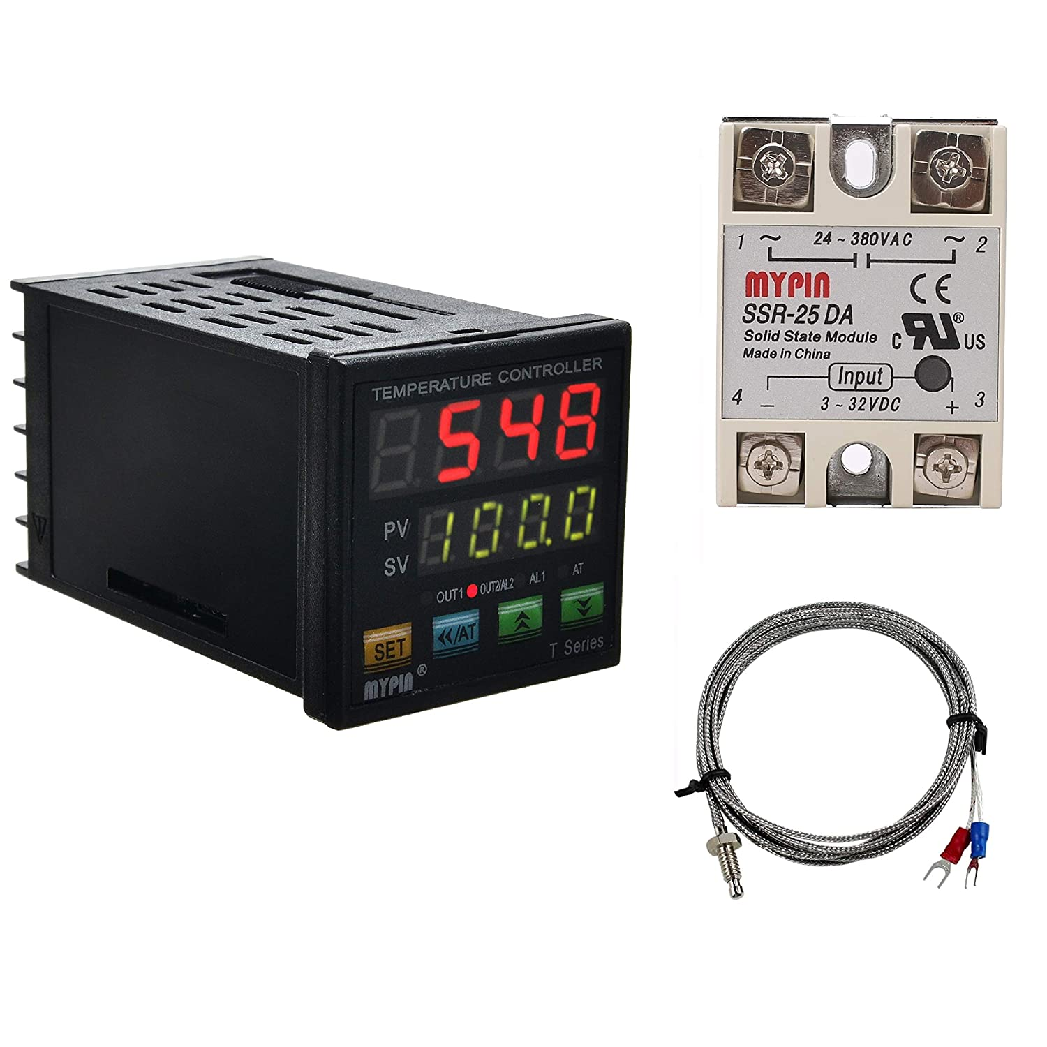 PID Temperature Controller Meter Indicator, Jaybva Digital Programmable Universal Thermostat Fahrenheit and C Display SSR and Alarm Output 25A Solid State Relay Thermocouple Probe Included: Industrial & Scientific