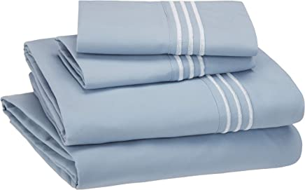 AmazonBasics Embroidered Hotel Stitch Sheet Set - Premium, Soft, Easy-Wash Microfiber - Queen, Dusty Blue