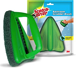 Scotch-Brite Bathroom Brush with abrasive scrubber for superior tile cleaning (Green)