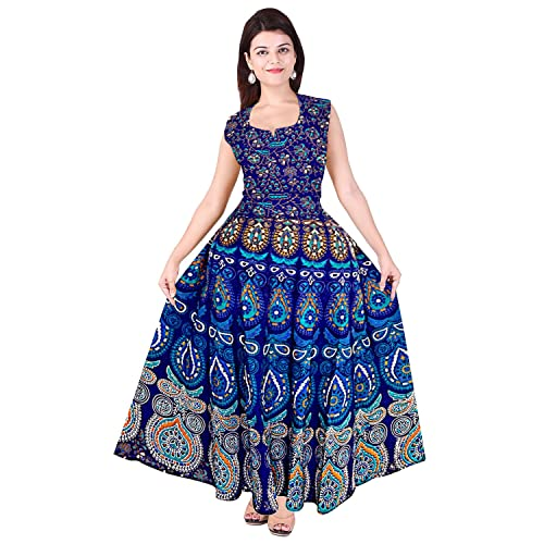 Silver Organisation Women's Cotton Fabric Fit and Flare Printed A-Line Maxi Midi Long Gown/Dress (SON_935, Multicolour, Free Size)