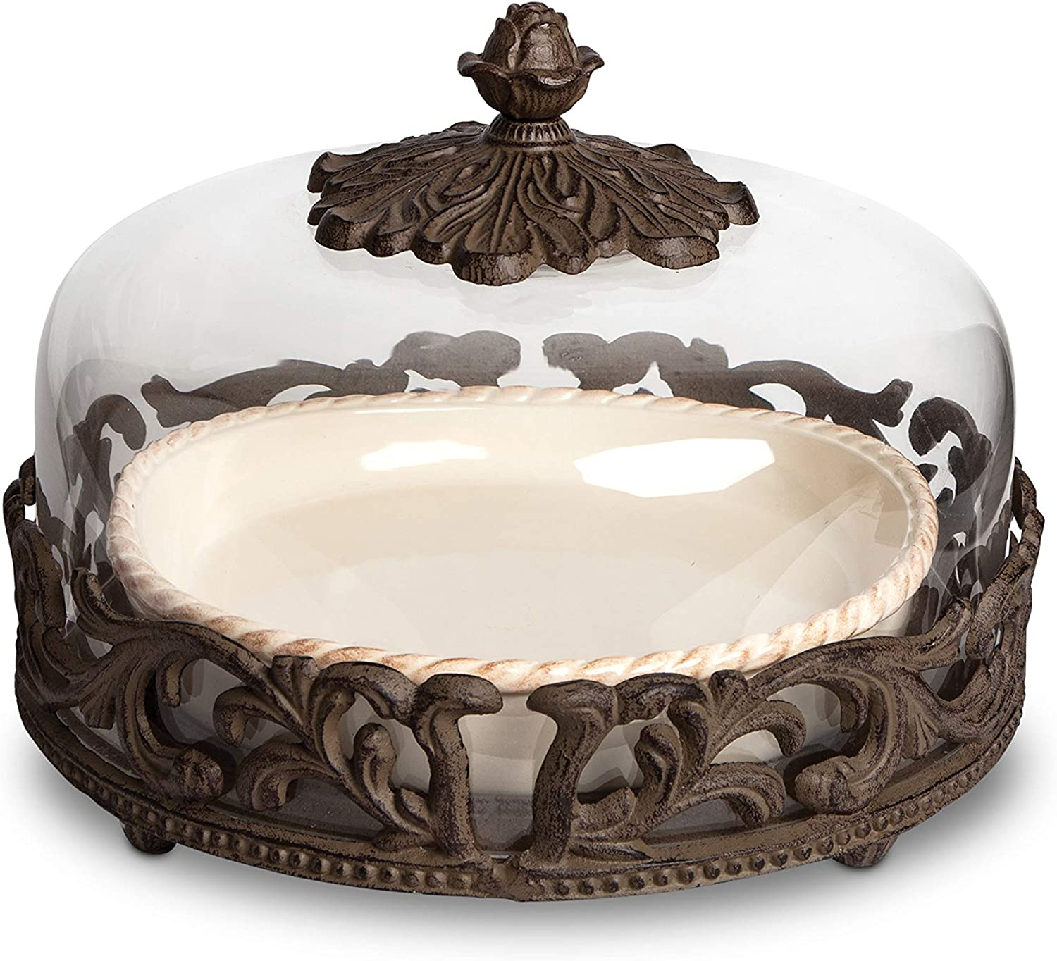 Cream Ceramic Pie Plate With Dome Lid With Acanthus Leaf Metal Base